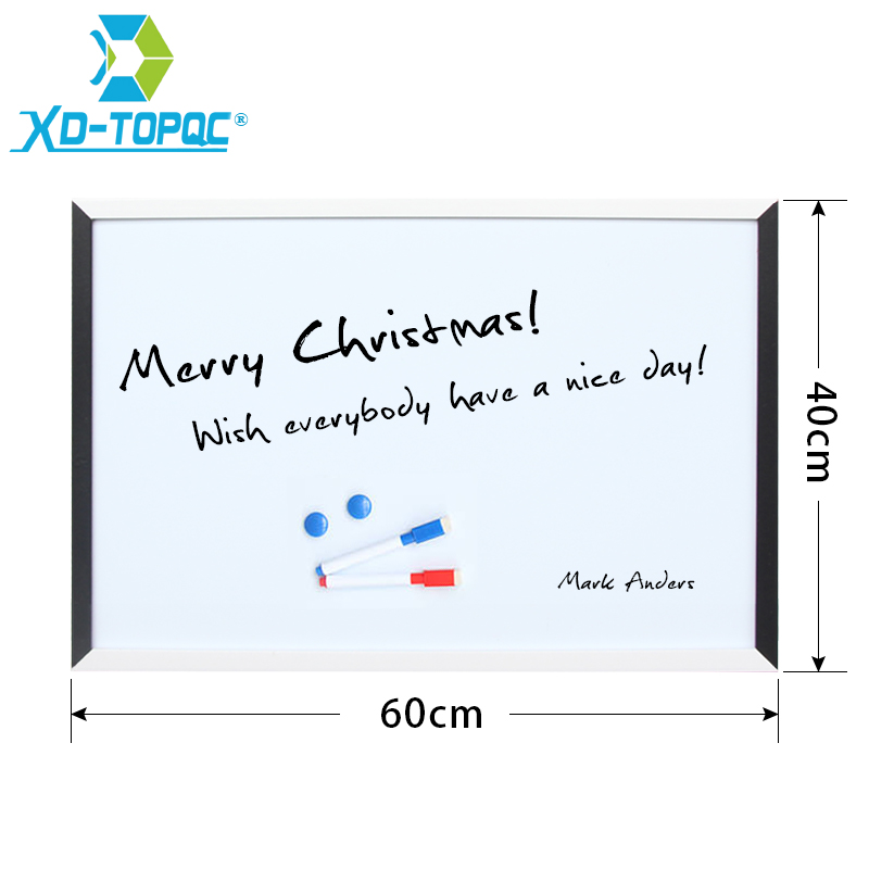 XINDI New 40*60cm Magnetic White Board MDF Black & White Frame Wooden Drawing Whiteboard Decorative Message Boards WB10
