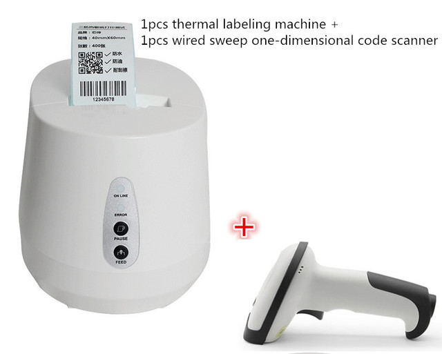 NEW 1pcs wired scanner +Thermal barcode label printer QR code  sticker clothing tag price paper bakery tea shop  barcode printer