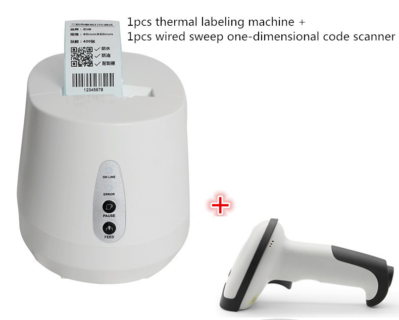Shipping wired scanner+Thermal barcode label printer QR code sticker clothing tag price paper bakery tea shop barcode printer