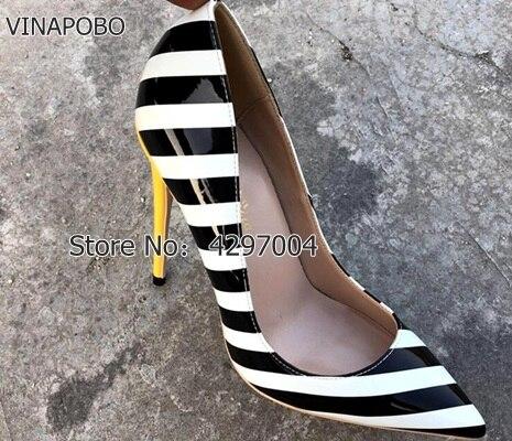 2018 New stripe Fashion Gradient Zebra Stripe Print Pointed Toe High Heel Women Pumps thin Heel