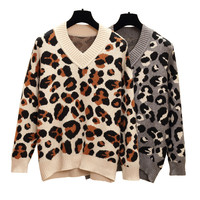 HAMALIEL Plus Size Women Pullovers New Fashion Fall Winter Print Leopard Knitted Long Sleeve Jumper Casual Loose V Neck Sweater