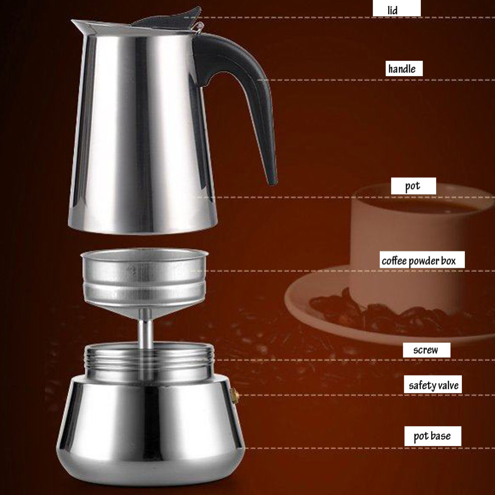 200 Ml4 Cup Stainless Steel Moka Stovetop Espresso Maker Latte