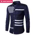Dropshipping New Design Brand Long Sleeve Striped Shirt Hot Sale Turn Down Shirt Single Breasted Casual Shirts ,gx607