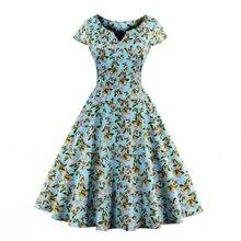 Spring Summer Women Floral Vintage Dress V Neck Plus Size L~4XL A-Line Feminino Vestidos Elegant Stretchy Cotton Dresses
