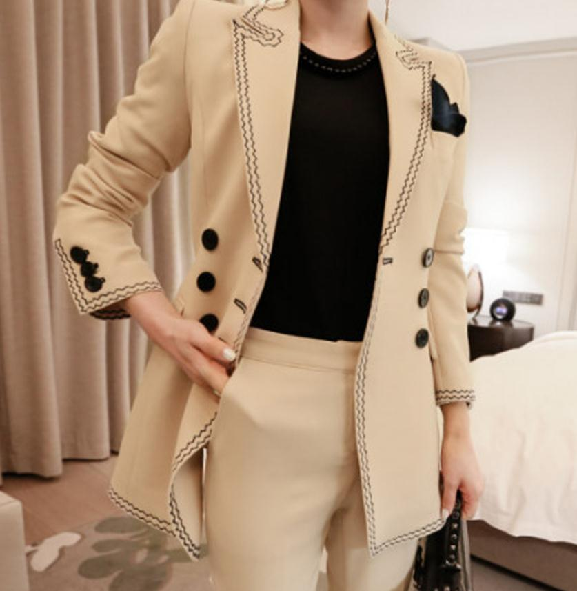 High Quality 2019 Spring New Arrival OL Style Hot Sale Turn-down Collar  Long Sleeve Woman Woolen Suit Coat thumbnail