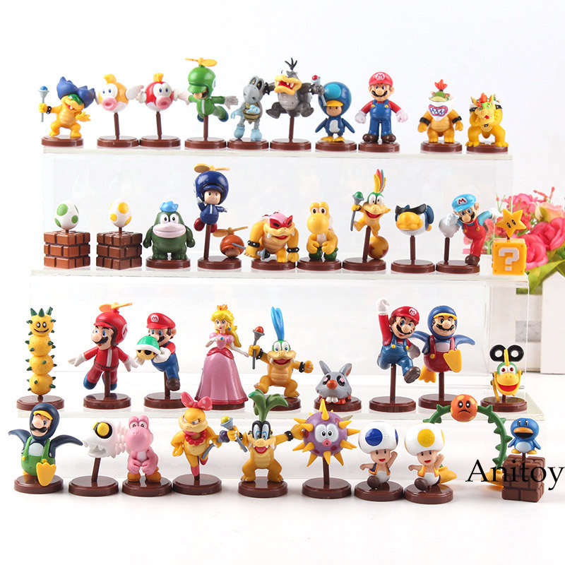 Furuta Super Mario Bros Figuren Koopa Mario Luigi Peach Toad Bowser JR Larry Wendy Iggy Lemmy Roy Action Figur Spielzeug 13 teile/satz