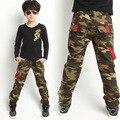 Toda a temporada crianças calças para meninos meninas Casuais roupas de camuflagem 100% algodão denim calças 100-150 cm grande crianças