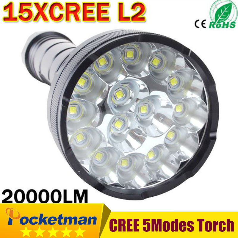 Cree Powerful LED Flashlight 20000 Lumen Lanterna led linternas Torch 15 x CREE XM-L2 LED Waterproof Super Bright LED Flashlight 20000 lumens 15 x cree xm l2 led 5 light modes waterproof super bright flashlight torch with 1200m lighting distance