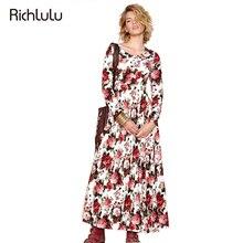 RichLuLu Цветочные Печатный Винтаж Dress Женщины Высокая Талия Cut Out Вернуться Vestidos Dress Длинным Рукавом Свободные Лето Maxi Dress