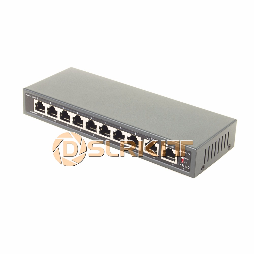 DSLRKIT 250M 10 Ports 8 PoE Switch Injector Power Over Ethernet 52V 120W max140W for IP camera/Wireless AP/CCTV camera system