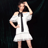 Women Party Dress 2018 Sexy Halter Neck Ruffle Off shoulder Fish Tail Mini Dress Ladies Hollow Out Summer White bodycon Dress