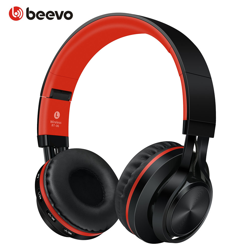 Portable Foldable Wireless Bluetooth Headphones Adjustable Headsets Support TF Card/Handsfree Call With Mic Earphones BT-06 high quality zealot b5 bluetooth wireless headphones foldable tf card over ear hd headphone headsets with mic