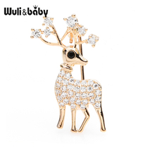Wuli&baby Czech Rhinestone  Elk Small Brooches Women Men Exquisite Deer Animal Brooch Pins Christmas Gifts