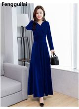 2018 Plus Size S - XXXL Women Clothing Winter Maxi Dresses Elegant Velvet Dress Purple Red Blue Green Vintage Warm winter