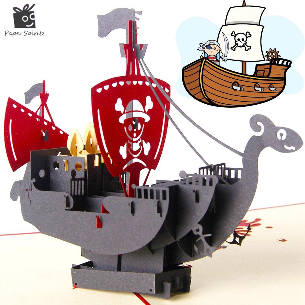 ②3D pop up pirata de dibujos animados papel origami & kirigami ...