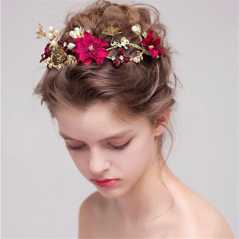 2017 New Trendy Charms Bridal Tiara Baroque Flower Crown