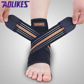 AOLIKES profesjonalne sportowe kostki bandaże okłady bandaże elastyczny stabilizator kostki ochraniacz ze stelażem na Fitness bieganie 1 pc