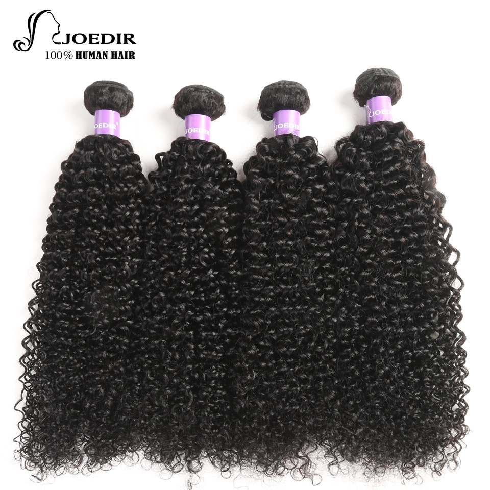 Joedir предварительно цветные бразильские странный вьющиеся волосы пучки 4 шт. Пряди человеческих волос для наращивания не Волосы remy ткань 10 ...