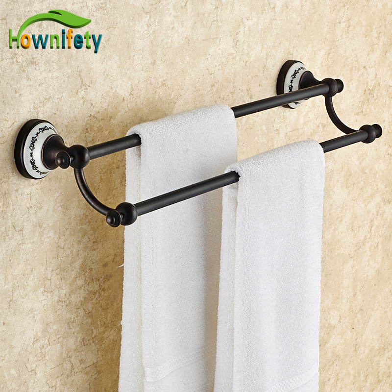 Oil Rubbed Bronze Bathroom Wall Mounted Flower Painted Dual Towel Bars allen roth brinkley handsome oil rubbed bronze metal toothbrush holder