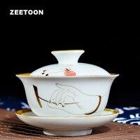 Zen Japanese Style Vintage Hand Painted Gaiwan White Porcelain Kung Fu Tea Set Tea Bowl Master Tea Cup Creative Teapot 150ml New