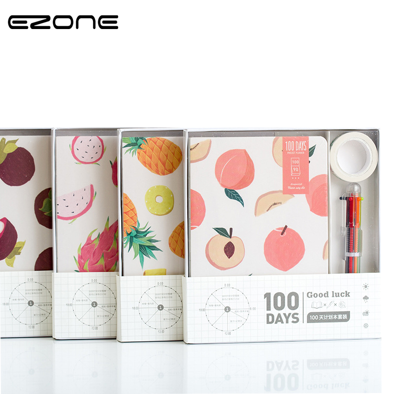 EZONE 1pc Small Fresh Fruits Summer 100 Days Planner Diaries Notebook Creative Hand Book Gift School Office Supplies Random Type kawaii fresh summer fruits banana