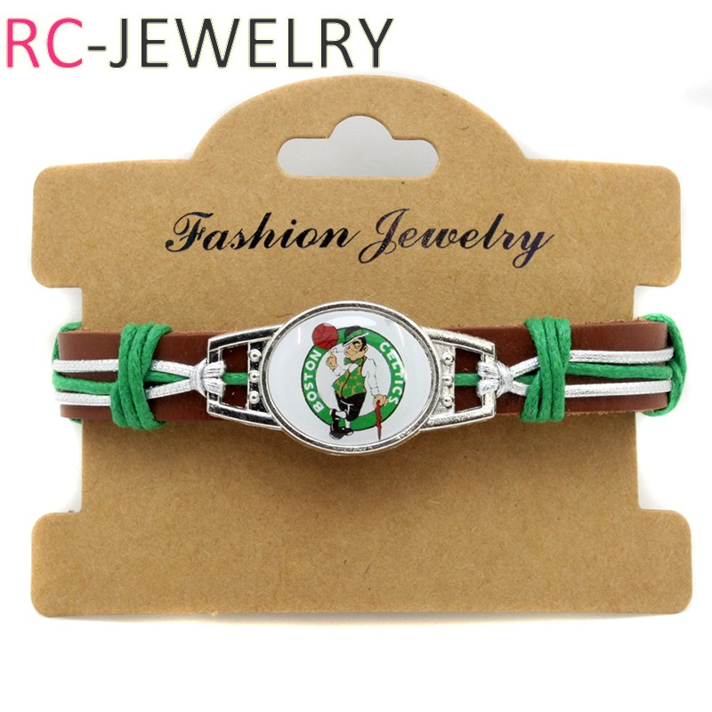 NBA-4 Boston Celtics Basketball Genuine Leather Adjustable Bracelet Wristband Cuff sport fans gifts