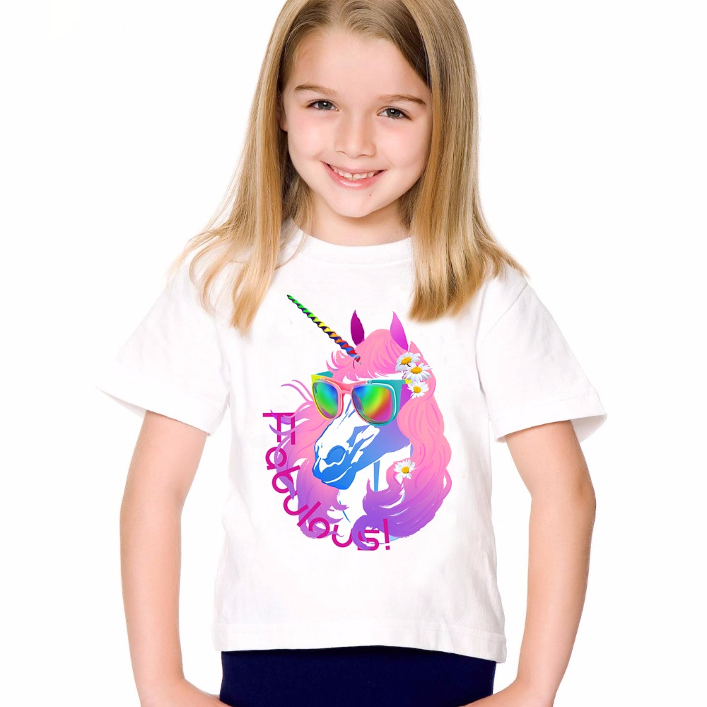 TEEHEART Boys/girls's T-shirt Pink Sunglasses Unicorn Letter Printed Harajuku T shirts Children O-neck Short Sleeve Tee TA718