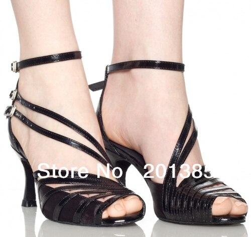 ФОТО 2013 Women Black Satin Patent Leather Straps Ballroom Latin Samba Salsa Dancing Shoes Sale 34,35,36,37,38,39,40,41