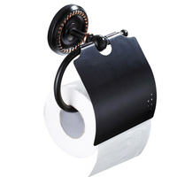 Creative Toilet Paper Holder Bathroom WC Antique Brass Decorative Tissue Paper Towel Holder Black Toilet Roll Holder Rack Cover