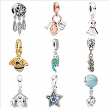 Btuamb Maxi Small Statement Flower House Star Elephant Charm Crystal Beads Fit Pandora Bracelets & Bangles Women Making Jewelry(China)