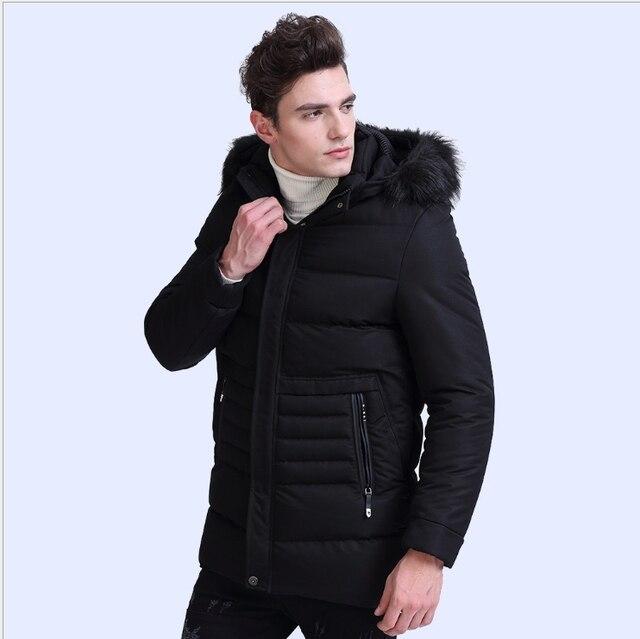 ba4dc79409d 2018 Army Green Parka Men Warm Winter Puffer Jackets Long Cotton Padding  Mens Overcoat Faux Fur Coat Male Hood Removable 7861