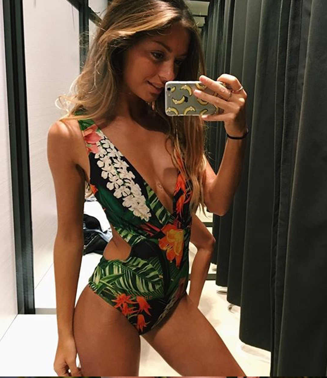 0e6ff0d2a760b Female Swimwear 2019 One Piece Swimsuit With High Waist Deep V Floral  Colaless Woman Bathing Suit