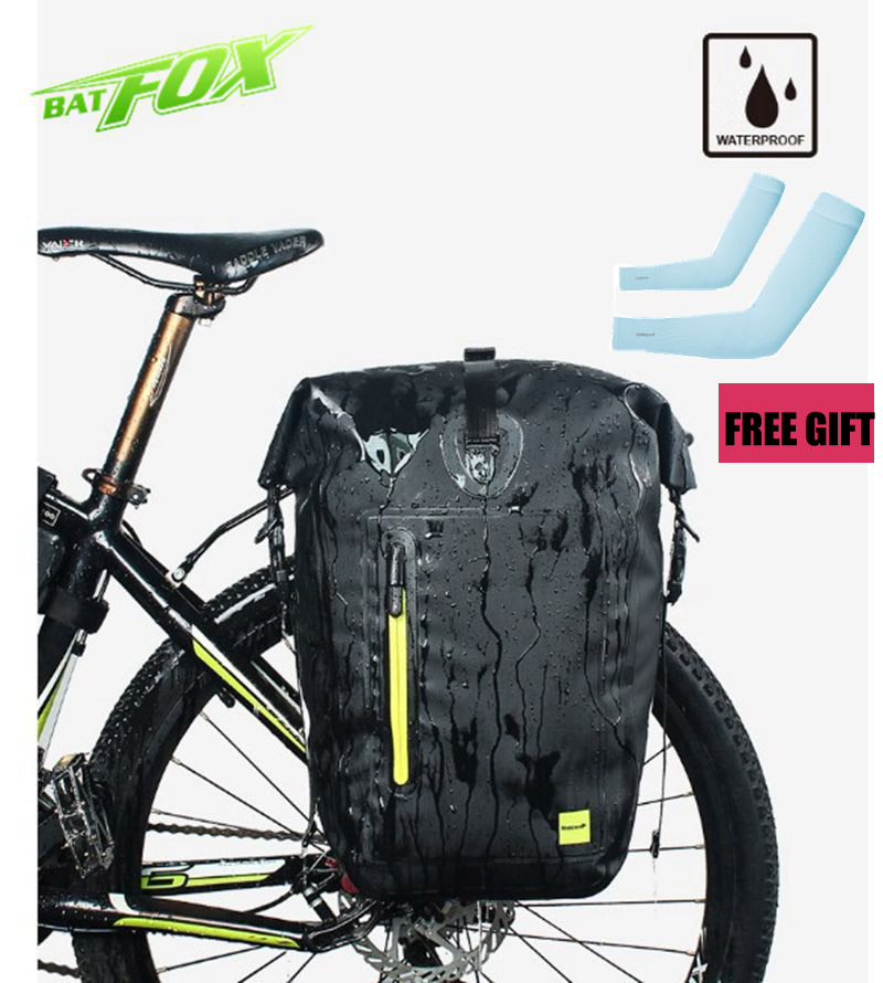 Bicycle Bag Portable Waterproof 25L MTB Rear Rack Tail Seat Trunk Bags Bike Bag Black Pannier  Rear Rack Seat Bike Accessories roswheel 50l bicycle waterproof bag retro canvas bike carrier bag cycling double side rear rack tail seat trunk pannier two bags