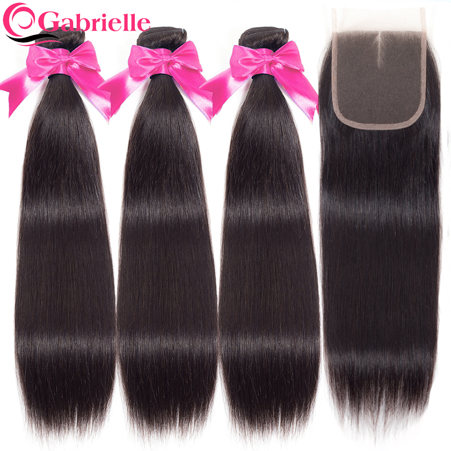 Gabrielle Straight Hair 3 Bundles with Closure Natural Color Brazilian Hair Weave Bundles with Closure 100