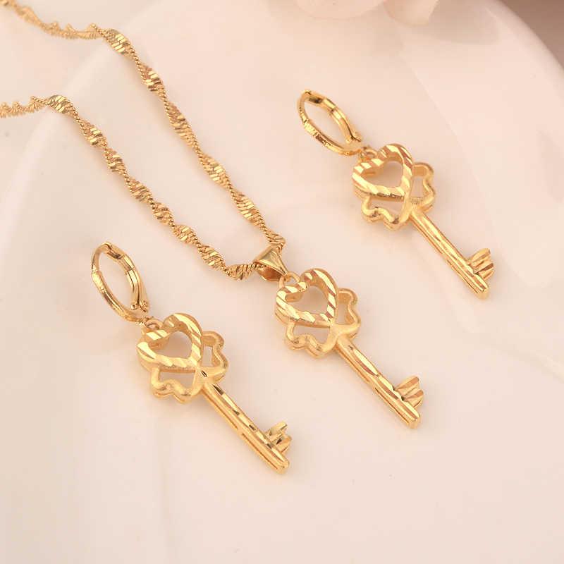 Habesha الأفريقي مجموعة إثيوبيا مفتاح قلادة قلادة/أقراط الذهب اللون دبي السودان النساء الفتيات المجوهرات هدية الزفاف
