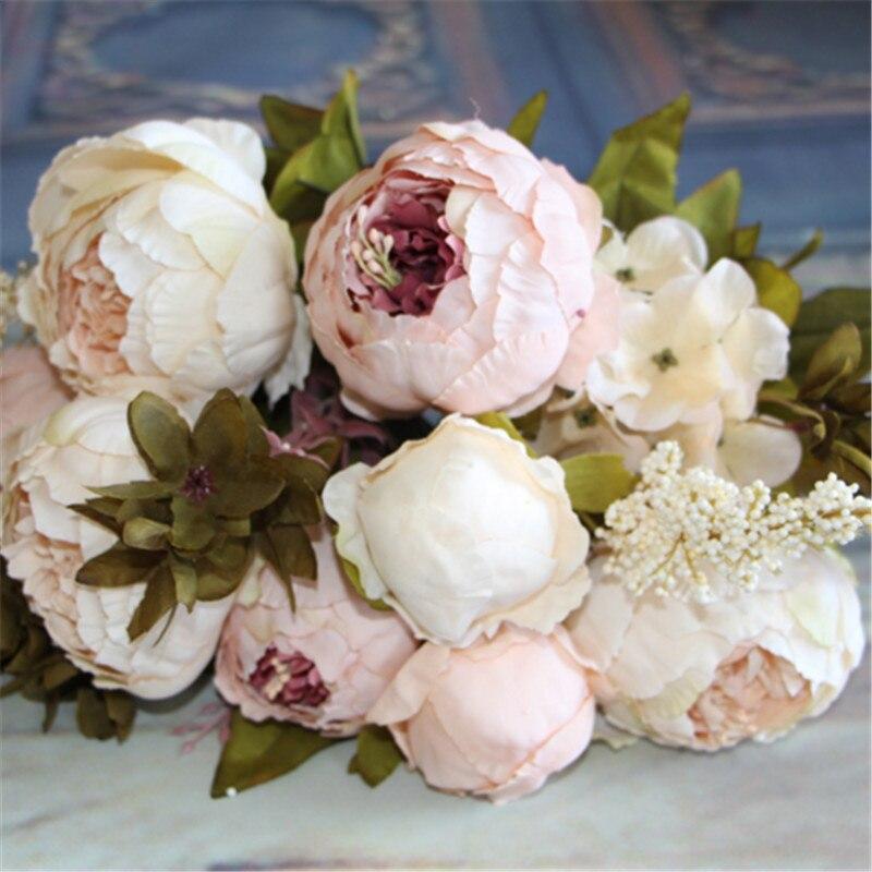 Flores Artificiales de Seda de flores de Otoño Europeo Vivid Peony Fake Hoja We