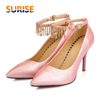 Big Size 8.5cm High Spike Heel Women Pumps Pointed Toe Patent Leather Crytal Chain Ankle Strap Party Wedding Lady Thin Stiletto
