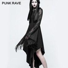 PUNK RAVE 2017 New Gothic Telaraña Lace Tassel Mangas Vestido Atractivo de Coctel de Las Mujeres Dobladillo Asimétrico de Algodón Hueco-Hacia fuera vestidos