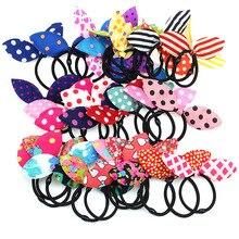 New Kawaii Bunny Girls Flower Dot Print Headbands Rabbit Ears Fabric Headwear Black Elastic Hair Band