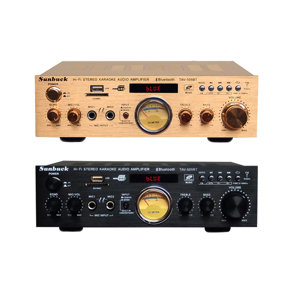 SUNBUCK New 220V Home Audio High Power Amplifier Built-in Bluetooth AV Amplifier With Card Radio Bluetooth AV amplifier 4-16Ohm