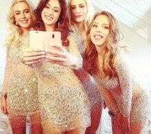 2015 perlen bling bling sparkly short prom dresses Long sleeve durchsichtig sexy kleid mantel cocktailkleider