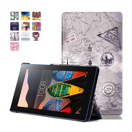 printed Stand PU leather cover skin case for 2016 Lenovo tab 3 7.0 710 essential tab3 710F+free gifts