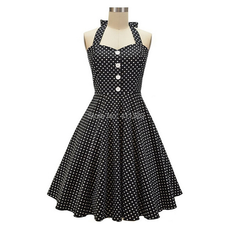 V215 2015 Womens Halter Backless Polka Dots 1940s 50s 60s Vintage Retro Style Rockabilly Pin up Swing Summer Casual Party Dresses (2).jpg