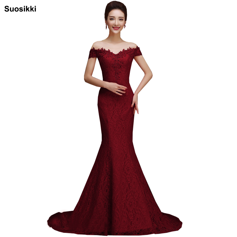 Suosikki Robe De Soiree Mermaid Burgundry Long   Evening     Dress   Party Elegant Vestido De Festa Long Prom Gown 2018