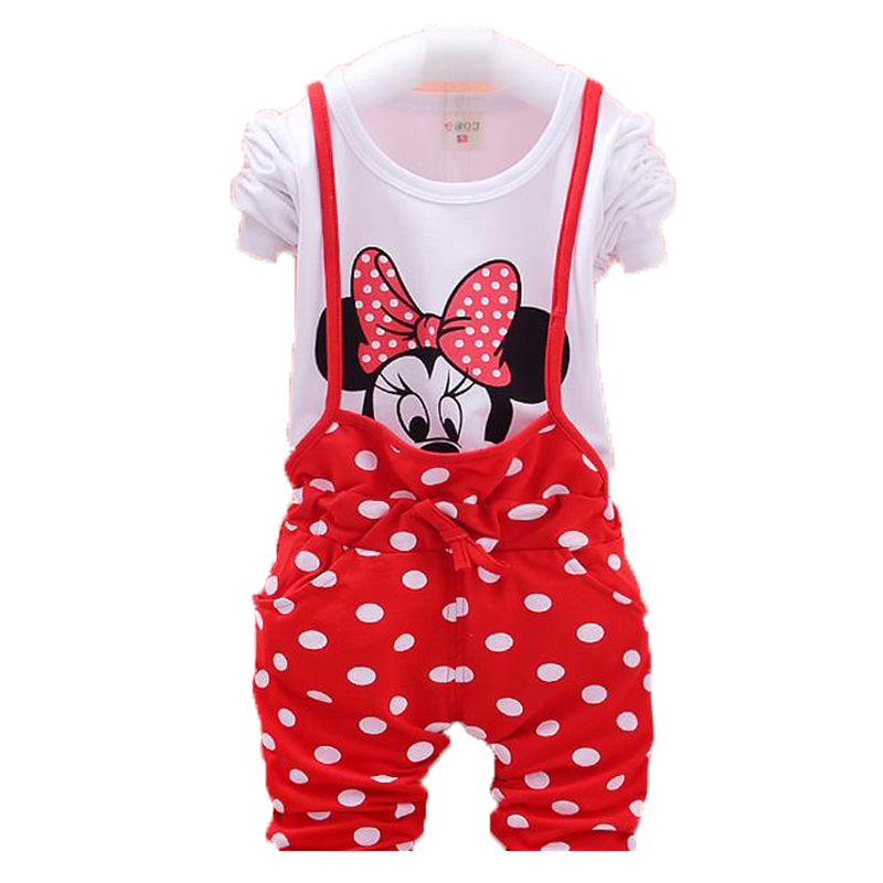 ФОТО New Children Clothing Girl Sets Long-sleeved Character Pattern Bib Pants Cotton Tracksuit For Girls Kids Set 2017 Spring Autumn