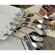 6 шт. Комплект посуды Винтаж цинковый сплав совки вилка Хрустальная головка кофейная/чайная ложка столовая посуда DAG