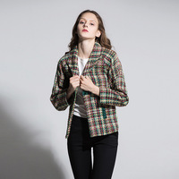 Runway 2017 Women Blazer Color Weave Plaid Autumn Winter Office Suits Cape Blazers Womens Coats Jacket Fashion Woman Work Suits