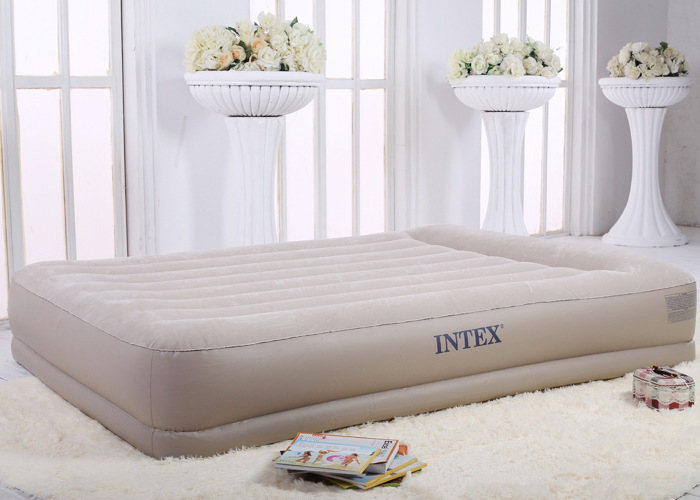INTEX luxury stripes built-in electric pump double inflatable mattress thick double air bed camping mat 67748 durable thicken pvc car travel inflatable bed automotive air mattress camping mat with air pump