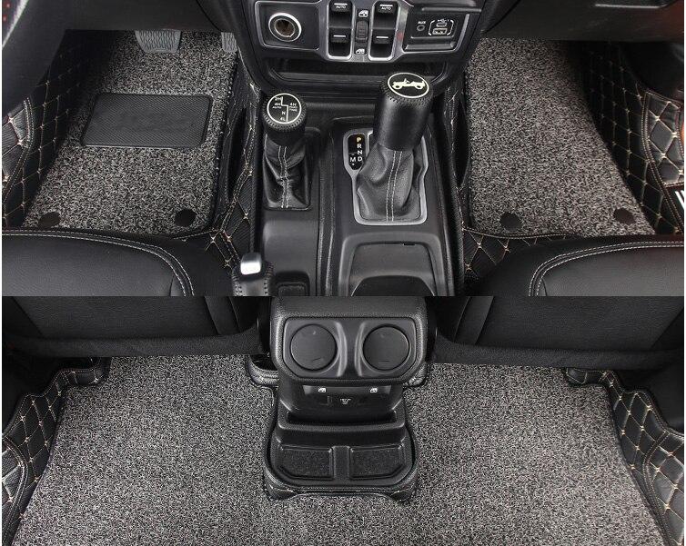 Lsrtw2017 волокно кожа провода петля салона автомобиля коврик для jeep wrangler JL 2018 2019 2020