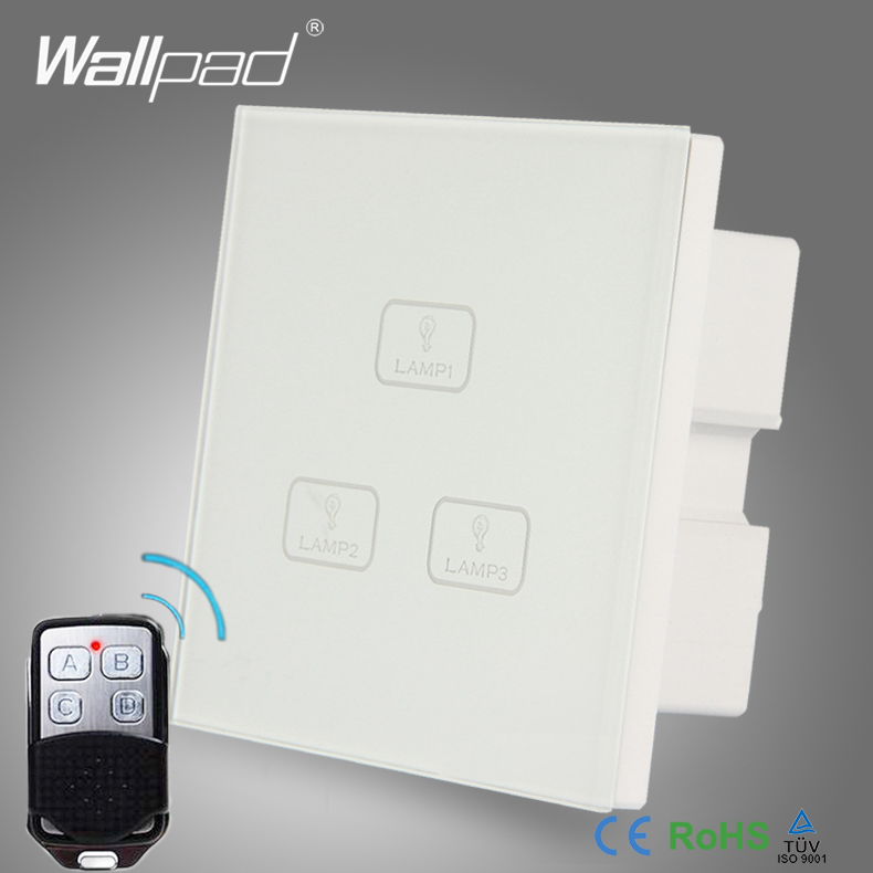 Factory Best Remote Wallpad Modern White Glass Panel 3 Gang 3 Way Wireless Remote Touch Sensitive Switch 110-250v AC EU/UK smart home eu touch switch wireless remote control wall touch switch 3 gang 1 way white crystal glass panel waterproof power